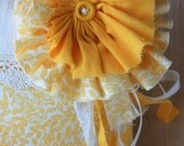 LAST TWO -Shredded Flower Ring Pillow in Buttercup- Made to Order