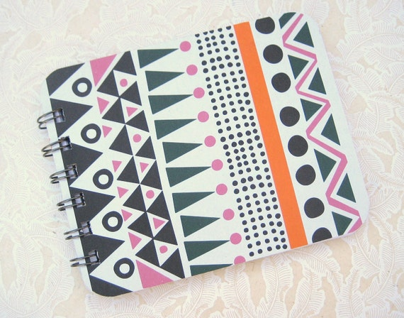 retro geometric handmade spiral bound journal notebook- blank