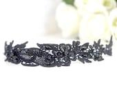 clearance sale -Black beaded lace headband