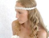 Grecian headpiece grecian headband Silvery beaded tiara