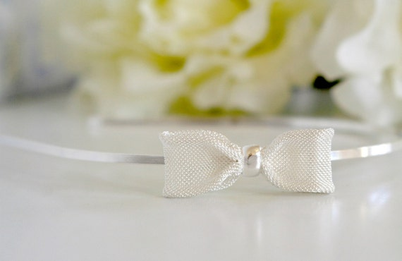 Small silvery bow headband -  ready to ship