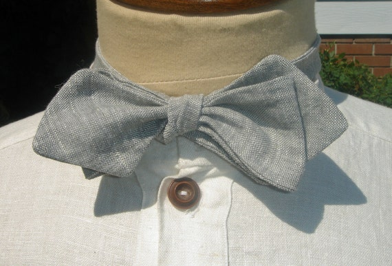 Light Grey Linen Fixed Length Bow Tie 35 inch length
