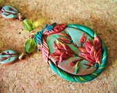 Indian Paintbrush Necklace / indian paint brush flower autumn glass bead goldstone red art deco polymer clay gold toggle