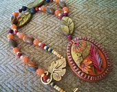 Autumn Treasures Necklace / polymer clay pendant autumn gold  red aveturine gem stone jasper green moss leaf flower caterpillar