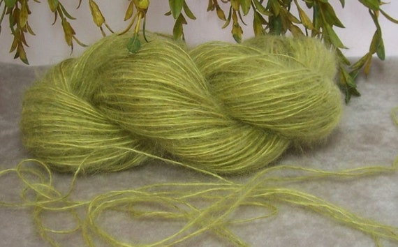 Citrus Lime Green Soft Fuzzy Yarn 150 yards Lace Fingering Weight  B 14