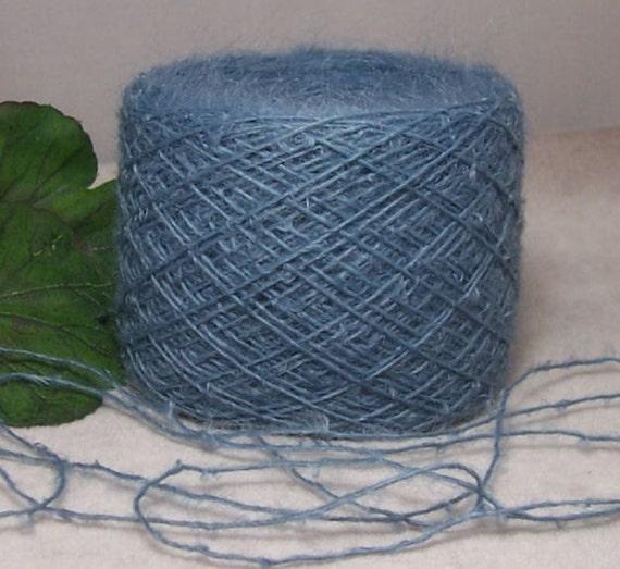 Medium Blue Yarn 50 Wool 50 Acrylic Tiny Loops Laceweight Slightly Fuzzy 200 Yard Balls B32