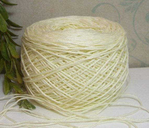 Yarn Thread Pale Yellow Polished Cotton Knit Crochet or Weave Soft Bin 10