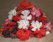SPRINGTIME - Superbulky floral art yarn in orange, fuchsia and grey tones - 4.2 oz - 68 yards