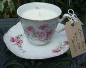 Love Lee's High Tea Candle - rose scented vintage teacup candle