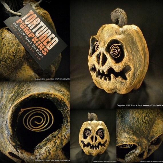 Papier Mache Pumpkin 037 Wired