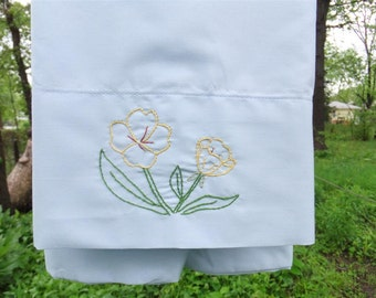 hand embroidered Evening Primrose pillowcase