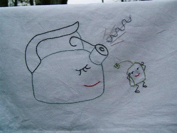Singing tea kettle and tea bag tea towel- hand stitched