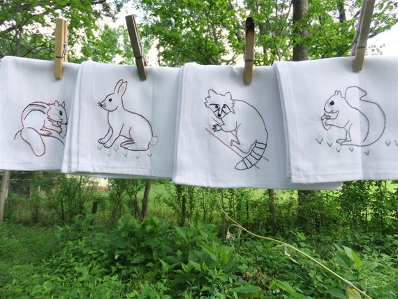 4 Woodland Mammal cloth napkins- hand stitched