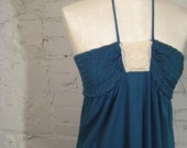 Amazing Teal MAXI Dress with lace, Size S/M