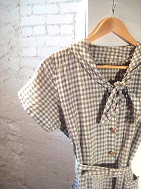 Vintage 50's Gingham Day Dress, Size M\/L
