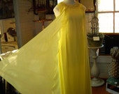 1960s Yellow Chiffon Column Dress - Silk -  Formal - Small