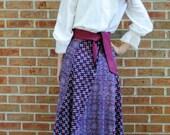 1970s India Maxi Long Skirt - Block Print Calico - Blue Purple - Small