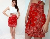 Red Bandana Mini Wrap Skirt - Summer Cotton - XS