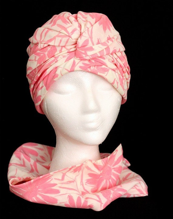 1960s Honeysuckle Pink Turban Hat and Scarf - Floral - Vintage Set