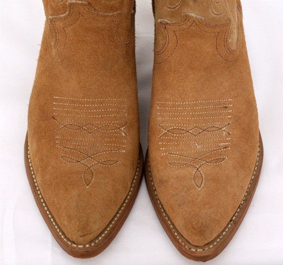 Acme Roughout Cowgirl Boots Tan Suede Cowboy Vintage By