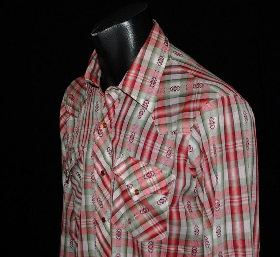 Vintage Pearl Snap Shirt - Dan River - Western Cowboy - Plaid - Wine Gold Olive- Long Sleeve - USA - Men Large