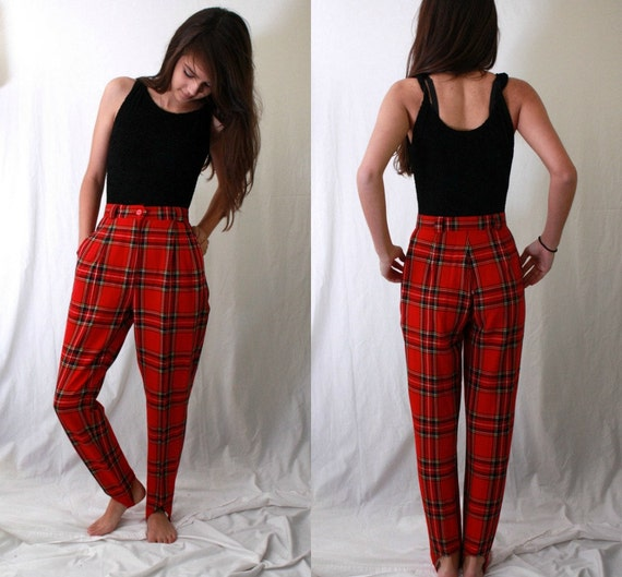 Red Plaid Stirrup Pants High Waist Pleated Front 1980s