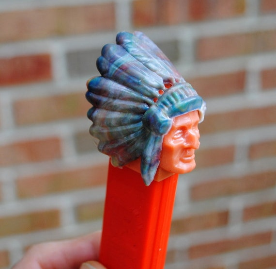 RESERVED   PEZ Indian Chief with Marbleized Headdress- Red - No Feet - 1970 Vintage - 2.6 Austria - MINTY