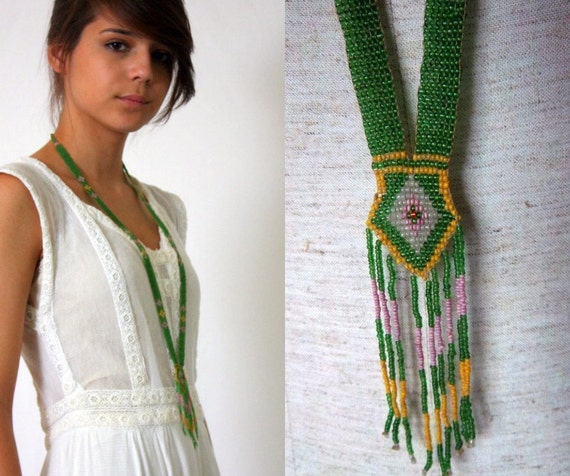 Antique Green Bead Sautoir Necklace - Dainty Deco - Flapper - Loomed Glass Seed Bead - 1920s