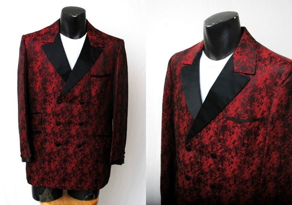 RESERVED  Red Black Brocade Tuxedo Jacket - Freddie Fender - Double Breasted - Collectible - 1970s Vintage - 42