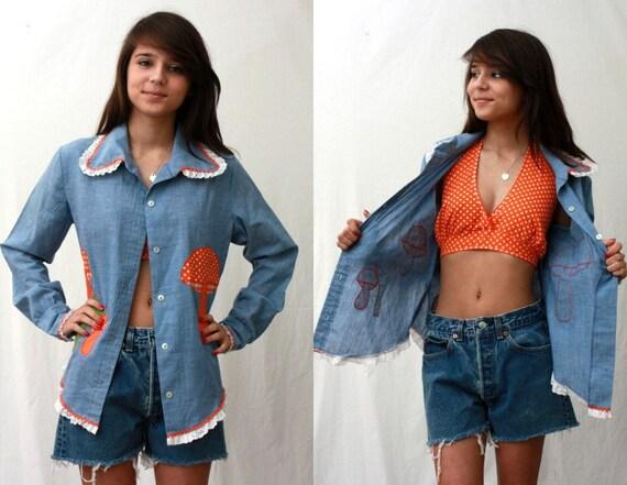 SALE  Chambray Mushroom Shirt and Orange Polka Dot Halter - Vintage - Women Medium