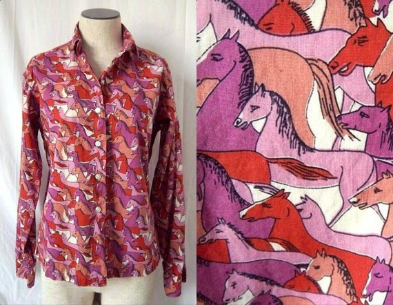 1960s Op Art Psychedelic Horses Shirt - Pink Purple Coral - Small