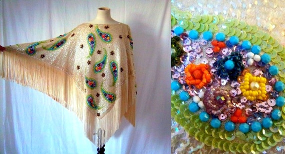 1960s Couture Sequin Beaded Fringe Cape - Red Carpet - Cream Turquoise Coral - Formal Cocktail - Hong Kong