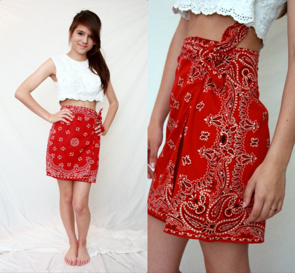 Red Bandana Mini Wrap Skirt Summer Cotton Xs