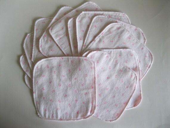 Soft Pink Flowers Cloth Wipes - Baker's Dozen