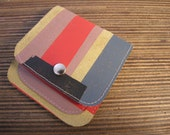 Yellow suede wallet with collored stripes