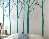 Removable Vinyl wall sticker decal Art - Leafy Winter Trees with birds - 6 trees - 037