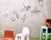 Paper Evolving into Origami Crane wall decals ,Birds, Kids Wall decal Wall stickers Vinyl , Wall graphic, wall art  - 021