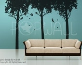 Tree Wall Decals Wall stickers - Shady Tree decal with Birds wall decal 074