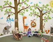 Wondrous Woodland tree wall decal,  elephant, giraffe, fox, monkey, Nursery, Children Wall Decal Wall Sticker 107