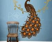 Peacock Wall Decal , Animal Wall Decal , bird wall decal, Vinyl Art Wall Sticker, home decor 053