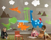 Dinosaurs Wall Decal ,triceratops, Apatosaurus,T-rex , pterodactyl, chemeleon,kids Wall Decal Wall Sticker