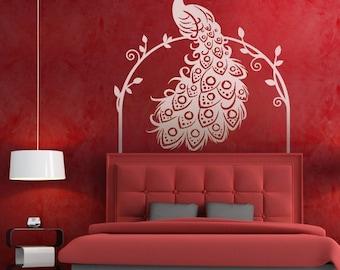 Peacock wall decal, bird, Animal wall decal wall sticker Vinyl , home decor, wall decor