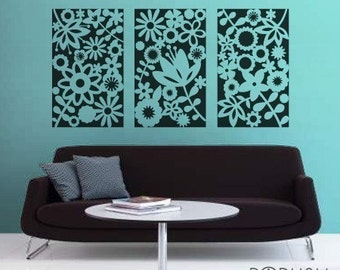 Blooming Flowers Panel set of 3 - 051 Vinyl Wall Sticker Decal