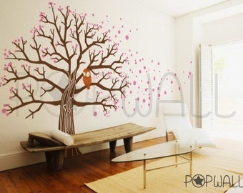 Wall decal Sticker -Tree, Animal, bird, Owl on cherry Blossom Wall decal Wall sticker -home decor