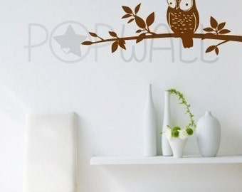 Removable Vinyl Wall Sticker wall Decal - Owl on Branch - 048