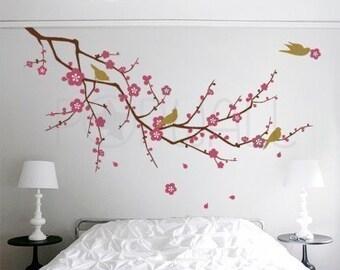 Tree ,nature, birds, flower, Cherry Blossom Branch Wall decal Wall sticker -wall decor-vinyl  010