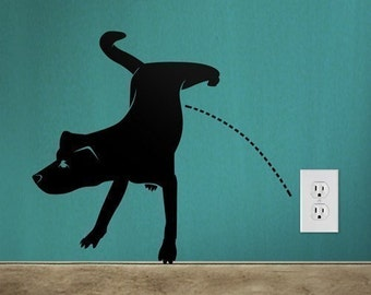 Naughty Dog Pissing, Dog Wall decal ,Animal wall decal Wall Sticker Vinyl Art ,Home Decor- 013