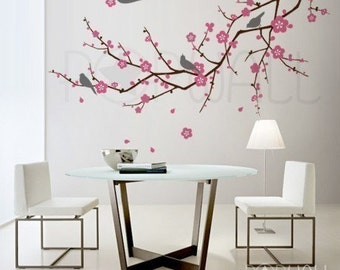 Tree, birds, flower - Cherry Blossom Tree Branch Wall decal Wall Sticker - home decor  ( LARGE) - 073