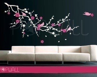 free shipping - Tree Cherry Blossom branch Wall decal  with Birds Wall Decal Wall Sticker Vinyl Art,Wall Graphic  076