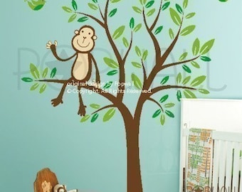 Monkey Wall Decal, Tree Wall Decal Nursery,Girl,Boy Wall Decal Wall Sticker, Wall Graphic